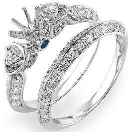 1.20 Carat (ctw) 14K White Gold Round Blue Sapphire & White Diamond Ladies Semi Mount Bridal Engagement Ring Set 1 1/4 CT (No Center Stone)