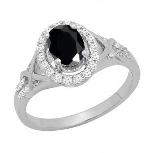 1.25 Carat (ctw) 18K White Gold Oval Cut Black Sapphire & Round Cut White Diamond Ladies Bridal Split Shank Halo Engagement Ring 1 1/4 CT