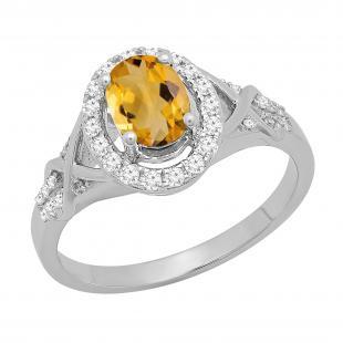 1.25 Carat (ctw) 10K White Gold Oval Cut Citrine & Round Cut White Diamond Ladies Bridal Split Shank Halo Engagement Ring 1 1/4 CT