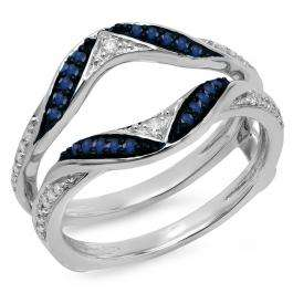 0.30 Carat (ctw) 18K White Gold Round Blue Sapphire & White Diamond Ladies Anniversary Wedding Band Guard Double Ring 1/3 CT
