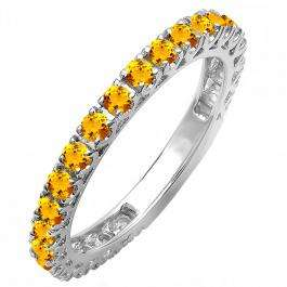 0.85 Carat (ctw) 10K White Gold Round Orange Citrine Eternity Sizeable Stackable Ring Anniversary Wedding Band 3/4 CT