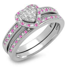0.23 Carat (ctw) 14K White Gold Round Pink Sapphire & White Diamond Ladies Heart Shaped Bridal Engagement Ring With Matching Band Set 1/4 CT