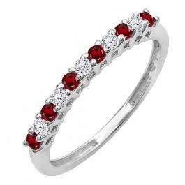 0.33 Carat (ctw) 14K White Gold Round Garnet & White Diamond Anniversary Stackable Wedding Band 1/3 CT