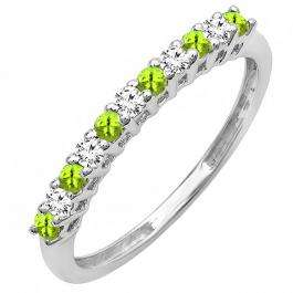 0.33 Carat (ctw) 18K White Gold Round Peridot & White Diamond Anniversary Stackable Wedding Band 1/3 CT