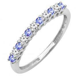 0.33 Carat (ctw) 14K White Gold Round Tanzanite & White Diamond Anniversary Stackable Wedding Band 1/3 CT