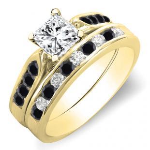 1.10 Carat (ctw) 14K Yellow Gold Princess & Round Cut Black & White Diamond Ladies Bridal Engagement Ring Set With Matching Band 1 CT