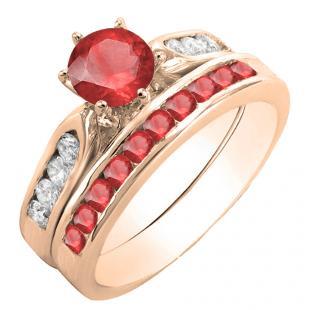 1.00 Carat (ctw) 10K Rose Gold Round Red Ruby & White Diamond Ladies Bridal Engagement Ring Set With Matching Band 1 CT