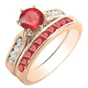 1.00 Carat (ctw) 18K Rose Gold Round Red Ruby & White Diamond Ladies Bridal Engagement Ring Set With Matching Band 1 CT