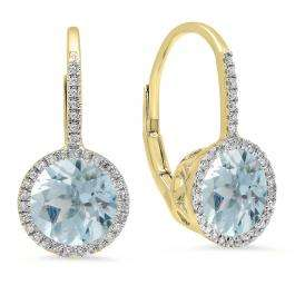 3.70 Carat (ctw) 14K Yellow Gold Round Cut Aquamarine & White Diamond Ladies Halo Style Dangling Drop Earrings