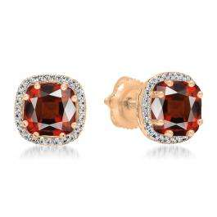 2.40 Carat (ctw) 14K Rose Gold Cushion Cut Garnet & Round Cut White Diamond Ladies Halo Style Stud Earrings