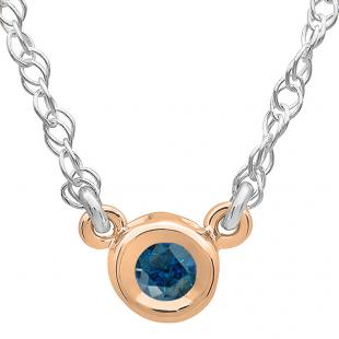 0.25 Carat (ctw) 14K Rose Gold Round Blue Diamond Ladies Bezel Set Solitaire Pendant 1/4 CT