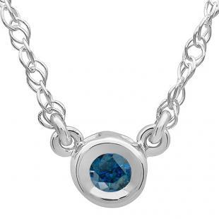 0.33 Carat (ctw) 14K White Gold Round Blue Diamond Ladies Bezel Set Solitaire Pendant 1/3 CT