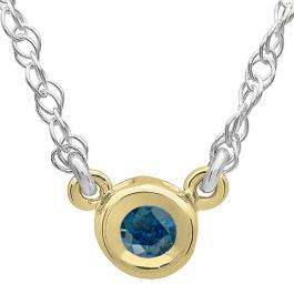 0.33 Carat (ctw) 14K Yellow Gold Round Blue Diamond Ladies Bezel Set Solitaire Pendant 1/3 CT