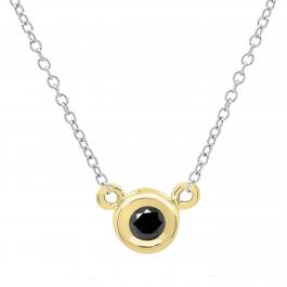 0.25 Carat (ctw) 14K Yellow Gold Round Black Diamond Ladies Bezel Set Solitaire Pendant 1/4 CT