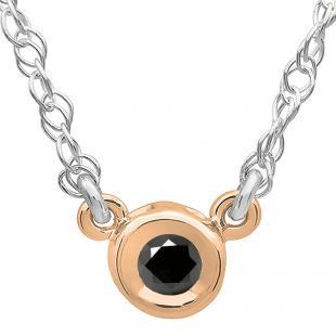 0.33 Carat (ctw) 14K Rose Gold Round Black Diamond Ladies Bezel Set Solitaire Pendant 1/3 CT