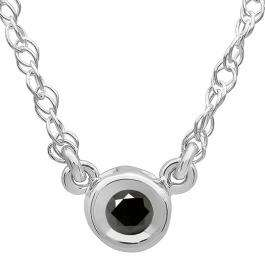 0.33 Carat (ctw) 14K White Gold Round Black Diamond Ladies Bezel Set Solitaire Pendant 1/3 CT