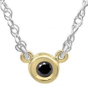0.33 Carat (ctw) 14K Yellow Gold Round Black Diamond Ladies Bezel Set Solitaire Pendant 1/3 CT