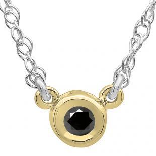 0.50 Carat (ctw) 14K Yellow Gold Round Black Diamond Ladies Bezel Set Solitaire Pendant 1/2 CT
