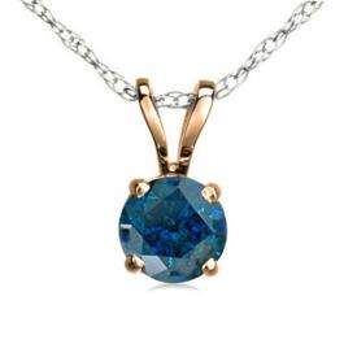 1.00 Carat (ctw) 14K Rose Gold Round Blue Diamond Ladies Solitaire Pendant 1 CT