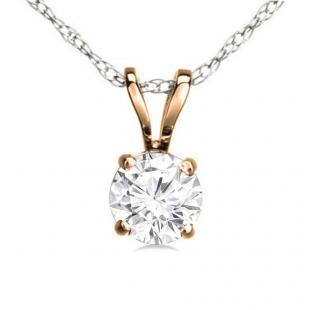 0.50 Carat (ctw) 10K Rose Gold Round White Diamond Ladies Solitaire Pendant 1/2 CT