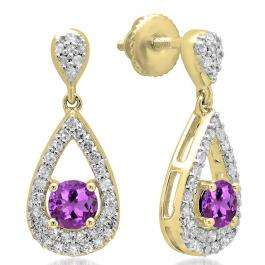 1.50 Carat (ctw) 14K Yellow Gold Round Cut Amethyst & White Diamond Ladies Dangling Drop Earrings 1 1/2 CT