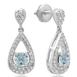 1.50 Carat (ctw) 14K White Gold Round Cut Aquamarine & White Diamond Ladies Dangling Drop Earrings 1 1/2 CT