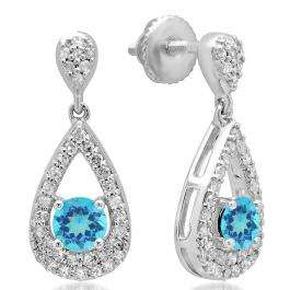 1.50 Carat (ctw) 14K White Gold Round Cut Blue Topaz & White Diamond Ladies Dangling Drop Earrings 1 1/2 CT