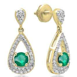 1.50 Carat (ctw) 10K Yellow Gold Round Cut Emerald & White Diamond Ladies Dangling Drop Earrings 1 1/2 CT