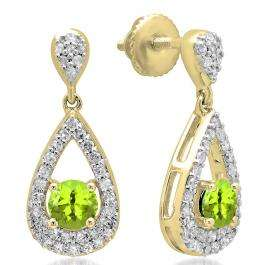 1.50 Carat (ctw) 14K Yellow Gold Round Cut Peridot & White Diamond Ladies Dangling Drop Earrings 1 1/2 CT
