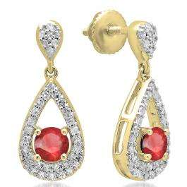 1.50 Carat (ctw) 14K Yellow Gold Round Cut Ruby & White Diamond Ladies Dangling Drop Earrings 1 1/2 CT