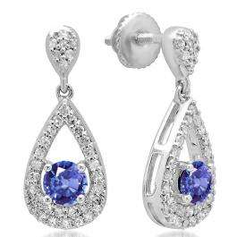 1.50 Carat (ctw) 14K White Gold Round Cut Tanzanite & White Diamond Ladies Dangling Drop Earrings 1 1/2 CT