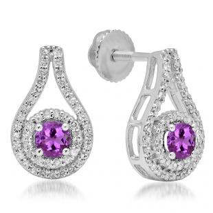 1.10 Carat (ctw) 18K White Gold Round Cut Amethyst & White Diamond Ladies Halo Style Drop Earrings 1 CT