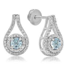 1.10 Carat (ctw) 18K White Gold Round Cut Aquamarine & White Diamond Ladies Halo Style Drop Earrings 1 CT