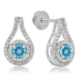 1.10 Carat (ctw) 18K White Gold Round Cut Blue Topaz & White Diamond Ladies Halo Style Drop Earrings 1 CT