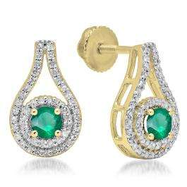1.10 Carat (ctw) 18K Yellow Gold Round Cut Emerald & White Diamond Ladies Halo Style Drop Earrings 1 CT