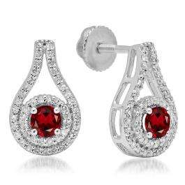 1.10 Carat (ctw) 18K White Gold Round Cut Garnet & White Diamond Ladies Halo Style Drop Earrings 1 CT