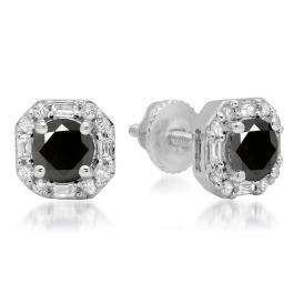 1.40 Carat (ctw) 14K White Gold Round Cut Black & Baguette & Round Cut White Diamond Ladies Halo Style Stud Earrings