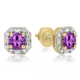 1.40 Carat (ctw) 18K Yellow Gold Round Cut Amethyst & Baguette & Round Cut White Diamond Ladies Halo Style Stud Earrings