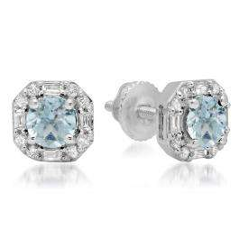 1.40 Carat (ctw) 18K White Gold Round Cut Aquamarine & Baguette & Round Cut White Diamond Ladies Halo Style Stud Earrings