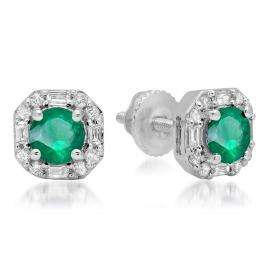 1.40 Carat (ctw) 18K White Gold Round Cut Emerald & Baguette & Round Cut White Diamond Ladies Halo Style Stud Earrings