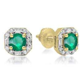 1.40 Carat (ctw) 18K Yellow Gold Round Cut Emerald & Baguette & Round Cut White Diamond Ladies Halo Style Stud Earrings
