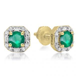 1.40 Carat (ctw) 18K Yellow Gold Round Cut Emerald & Baguette & Round Cut White Diamond Ladies Halo Style Stud Earrings