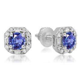1.40 Carat (ctw) 18K White Gold Round Cut Tanzanite & Baguette & Round Cut White Diamond Ladies Halo Style Stud Earrings