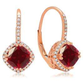 2.20 Carat (ctw) 14K Rose Gold Cushion Cut Ruby & Round Cut White Diamond Ladies Halo Style Dangling Drop Earrings