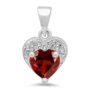 0.60 Carat (ctw) 18K White Gold Heart Cut Garnet & Round Cut White Diamond Ladies Heart Pendant