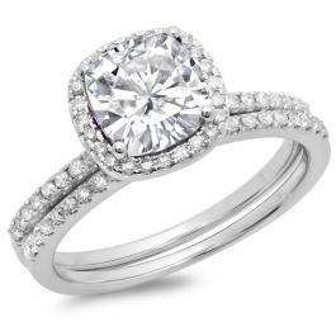 1.75 Carat (ctw) 10K White Gold Cushion Cut Created White Sapphire & Round Cut White Diamond Ladies Bridal Halo Engagement Ring With Matching Band Set 1 3/4 CT
