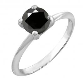 1.00 Carat (ctw) Sterling Silver Round Cut Black Sapphire Ladies Solitaire Bridal Engagement Ring 1 CT