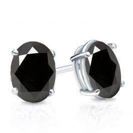 1.00 Carat (Ctw) Sterling Silver Oval Cut Black Sapphire Ladies Solitaire Stud Earrings 1 CT