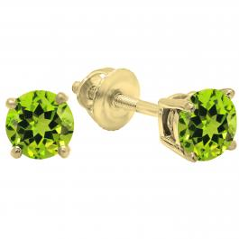 1.00 Carat (ctw) 10K Yellow Gold Round Cut Peridot Ladies Solitaire Stud Earrings 1 CT