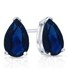 1.00 Carat (Ctw) Sterling Silver Pear Cut Blue Sapphire Ladies Solitaire Stud Earrings 1 CT